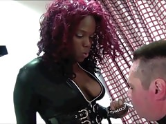 Jamaican Dominatrix hard domination on white trash slave's Thumb