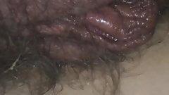 Hairy meaty pussy lips of my 37yo belgian milf wife
