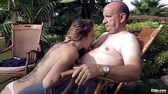 Fat rich grandpa drills his nymph babe in his luxurian garde