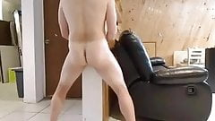 Horny wall hump and leather couch humping