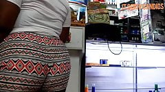 Crazy Beautiful Plump Ass Ebony Teen In Design Booty Shorts