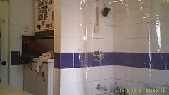 French girl in shower