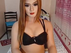 Busty Tranny Babe Jerking Off her Cock