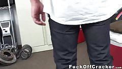 Sexy white ass dude gets ass-punished by BBC in the office