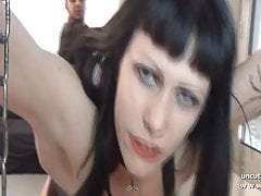 Gothic french slut screwed ass plugged facialized in 3way