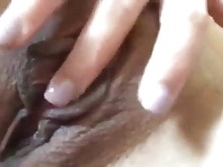My wife having a short play with her shaved wet pussy