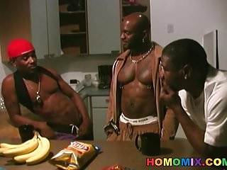 Preview 1 of Three black dudes sharing a muscular guy