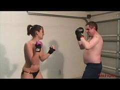 Danica vs Mark - Painful Struggle with Topless Girl