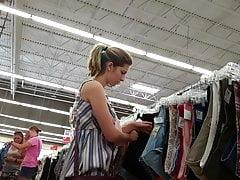 Upskirt cute teen thrift store
