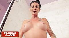 Wet trans goddess wanks cock in the shower