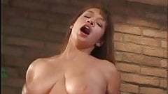Bitchy brunette with stiff tits gets her mouth filled with cock