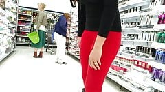 Hot chick in red tights 2