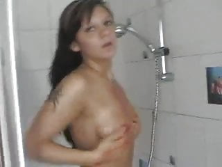 Girlfriends film each other in the shower