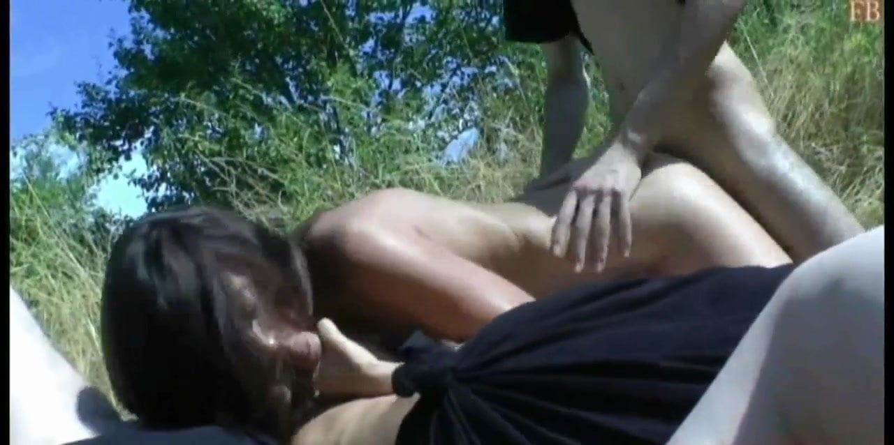 French Slut swallows sperm and goes to fuck outside