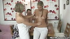 Threesome sex with their son's GF after bath
