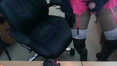 Cum in pink basque, sheer nylon and boots