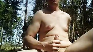Masturbating in the woods