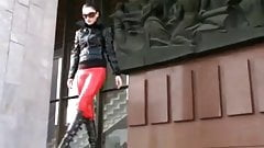 Nastya in red leather leggings & black knee high booots