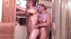 together in shower, she teases him