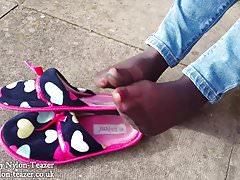 Barely Black Pantyhose Slipper Teaser
