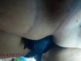 Look at my wet pussy while I eat my husband's ass.