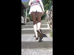 Upskirt in the street - mini skirt staircase