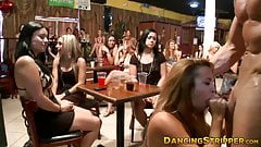 Boldest lady sucking off stripper at a girl only party