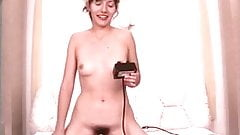 Cute brunette with nice tits and hairy pussy rides a sybian