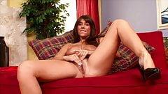 Long haired brunette MILF solo porn casting
