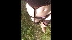 lingerie flash  in public park