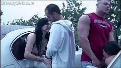 PUBLIC orgy with a pregnant girl through car windows's Thumb