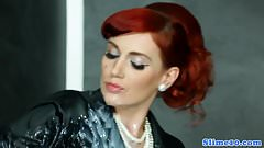 Glam redhead euro cum drenched in gloryhole