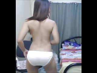 Asian Dancing in White Satin Panties