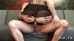 Amateur french brunette gets banged in threeway