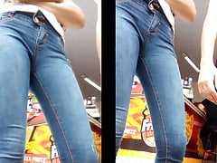 Magrinha delicia de jeans apertado na frente