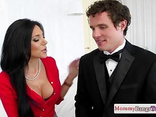 Nipple Pierced Stepmom Bounces On Hard Cock