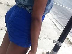 Thick Black Teen At Bus Stop