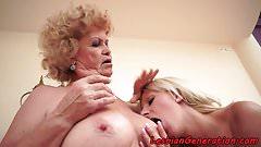 Teen babe masturbating with grandma