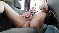 Backseat Stroke and Cum 2
