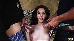 Sexy Tgirl Jenna takes 2 cocks on Halloween