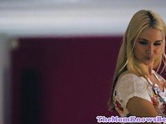 Busty lesbian milf queened by teen