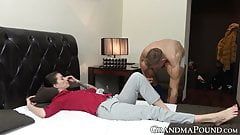 Mature beauty passionately sucking sweet young cock