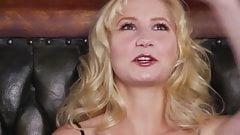 Blonde attractive babe strips and masturbates