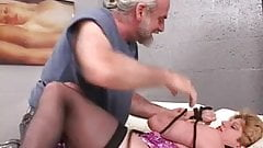 Sexy captured blonde torture victim has hose inserted in her tight asshole