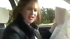 Driving handjob and cum 2