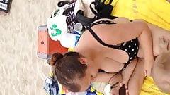 Big boob Milf on beach