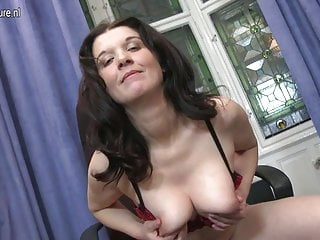 Real mother and housewife playing with herself