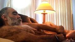 Hairy daddy bear strokes on cam