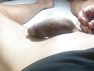Brazilian Waxing Of A Big Cock Part  She Uses The Tweezers