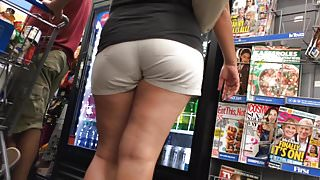 Asian MILF VPL Khaki Shorts (Checkout Line)